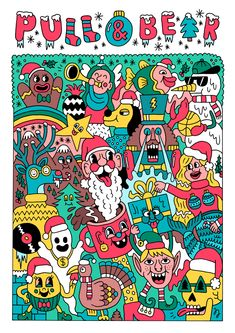 Series of fun Christmas illustrations for clothing store Pull & Bear. Graphic Design Posters, Graphic Design Inspiration, Christmas Illustration, Graphic Illustration, 2d Character Animation, Flash Art, Geek Art, Illustrations And Posters, Doodle Art