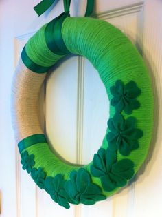 St Patricks Day Holiday Yarn Wrapped Wreath by Wreathsbystephanie, $30.00