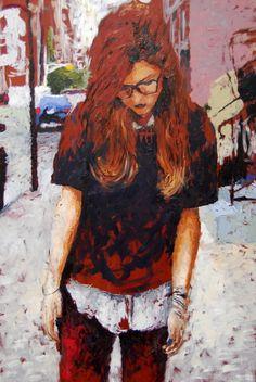 """Sarah Novio; Oil, Painting """"Trendy"""""""