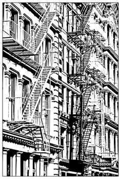 Free Coloring Page Architecture Building In New York Typical Soho