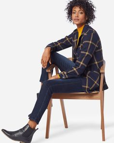 Shop Pendleton new arrivals for women, including fine wool cardigans, women's wool sweaters & women's wool blazers. Ribbed Sweater, Wool Cardigan, Blue Denim Skirt, Rose City, Classic Style, My Style, Cold Weather Fashion, Navy Gold, El Salvador