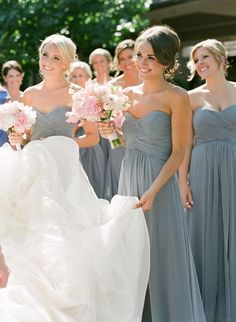 5221b733df3 Gray dusty blue and blush pink wedding ideas - dusky blue bridesmaids  dresses and pink bouquets