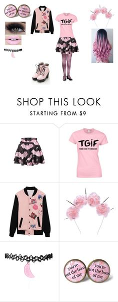 """pink and black"" by bluesakurarose ❤ liked on Polyvore featuring Qupid, WithChic, Vox Populi, Fiebiger and Eyeko"