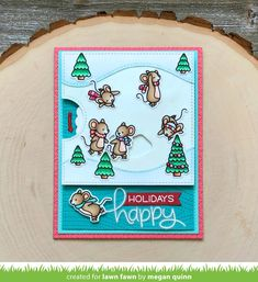 Solyciela: Lawn Fawn Inspiration Week: Mice On Ice and Stitched Pond Die Set Winter Cards, Holiday Cards, Christmas Cards, Megan Quinn, Lawn Fawn Blog, Lawn Fawn Stamps, Interactive Cards, Cute Mouse, Clear Stamps