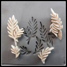Hand carved leaf pattern stamps