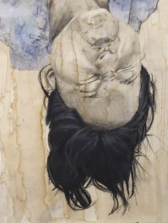 """Micah Secor, Plano West Senior High School, """"Hanging"""":  """"The work plays with the traditional concept of a portrait by diverging from the typical subject and media. Portrait subjects are made to be appealing to the eye, but I drew the model contorting her face upside down. The charcoal hair is shaped and given highlights to mimic hanging, and the altered background of downward coffee drips creates a continuous direction throughout the piece."""""""