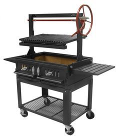 "Santa Maria 36"" w/Fire Brick, Grill Head, Firebox & Cart, Double Door, Single Grate - Item #3601-36DSICRT Commercial"