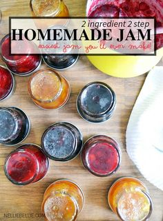 make homemade jam with only 2 ingredients and 2 steps. Easy to make! | nelliebellie.com #jam #homemade