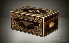 Magnificent Antique Jewellery Box in Coromandel with Engraved Brass Inlay and Concealed Drawer - DanielLucian.com
