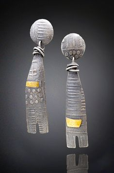 Wrapped Talisman Earrings by Patricia McCleery. Lightweight statement earrings of silver shibuishi (a Japanese silver/brass alloy) with a dash of 22k gold and a texture that is reminiscent of ancient artifacts. Sterling posts complete the pair.