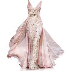 Satinee's collection - Zuhair Murad ❤ liked on Polyvore featuring dresses, gowns, vestidos, long dresses, zuhair murad evening gowns, zuhair murad, pink evening dress and zuhair murad gowns