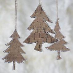 Glitter Cork Tree Ornaments