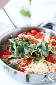This 20 Minute Cherry Tomato and Basil Angel Hair Pasta comes together in a jiffy, and will satisfy the whole family, even the kids!