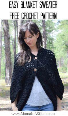 Easy Blanket Sweater Crochet Pattern via @MamaInAStitch