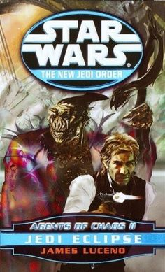 Jedi Eclipse (Agents of Chaos, #2) (Star Wars: The New Jedi Order #5) by James Luceno -   A string of smashing victories by the forces of the sinister aliens known as the Yuuzhan Vong has left New Republic resources and morale stretched to the breaking point. Leia Organa Solo, estranged from her husband, Han, oversees the evacuation of refugees on planets in the path of the merciless invaders. Luke Skywalker struggles to hold the fractious...