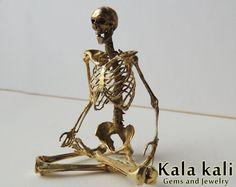 SALE Human Skeleton Model Meditating Buddha Brass by KalaKali