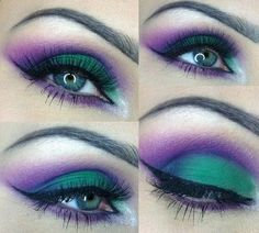 Purple and Neon Green Cut Crease