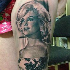 The eternally beautiful Marilyn Monroe portrait tattoo by David Corden
