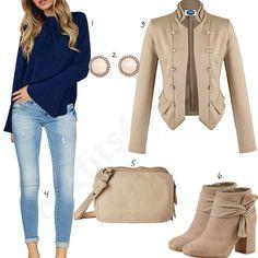 Damen-Outfit mit beiger Bluse, Schuhen und Umhängetasche (w0980) #jacke #blazer #tasche #schuhe #bluse #outfit #style #fashion #womensfashion #womensstyle #womenswear #clothing #frauenmode #damenmode #handtasche #inspiration #frauenoutfit #damenoutfit