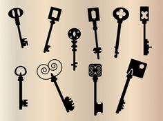 vintage silhouettes | key vintage silhouette | Download free Vector Antique Keys, Vintage Keys, Flying Tattoo, Forest Tattoos, Silhouette Tattoos, Old Keys, Vintage Silhouette, Silhouette Cameo, Fancy Fonts