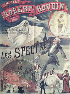 Poster advertising 'Ghosts and the House of the Devil' at the Theatre Robert-Houdin, Paris, c.1870