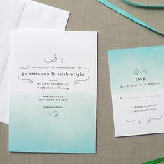 """Brides.com: Invitations and Stationery for a Destination Wedding. An Ombré Invitation for a Florida Destination Wedding. """"Ombré"""" invitation suite in pool color, starting at $150 for a set of 50, Fine Day Press  See more modern wedding invitations and stationery."""