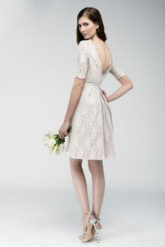Style VENETO * 6232E * » Wedding Rehearsal / After Dresses » Encore 2015 Spring Collection » by Watters » Shown Colours : Ivory/Bronze/Ivory ~ Shown Plunging V-Neckline & Back with Grosgrain Ribbon at waist. Also available in Modest Version as Style CATANIA *6243* (back)