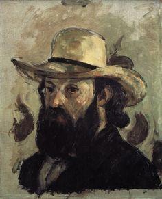 Self Portrait in a Straw Hat 1875 76 by Paul Cezanne Paintings Cezanne Art, Paul Cezanne Paintings, Cezanne Portraits, Portrait Paintings, Beard Art, Pierre Auguste Renoir, Aix En Provence, Paul Gauguin, Art Moderne
