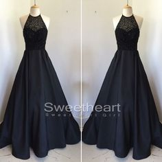 Unique Black round neck beaded long prom dress for teens, cute black evening dress