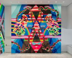 Maya Hayuk Heavy Trails, 2013, Installation at the Hammer Museum, Los Angeles, August 17, 2013 – January 26, 2014, Acrylic and spray paint on wall.