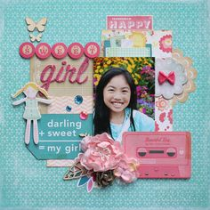 Sweet Girl - Scrapbook.com - Made with Crate Paper Oh Darling Collection.