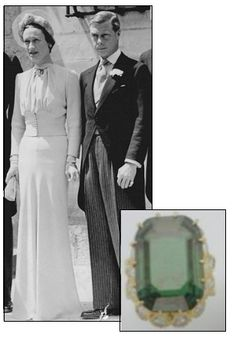 "Fitting to the epic love story of Wallis Simpson, Duchess of Windsor, and King Edward VIII, who abdicated the throne of England for her, was a 19.77 carat emerald ring that bore a personal inscription that read: ""We are ours now 27x36"" which meant the day he proposed, October 27, 1936."