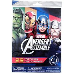 Marvel Avengers Assemble Tattoos - 25 Tattoos * Click on the image for additional details. (This is an affiliate link) #TemporaryTattoos