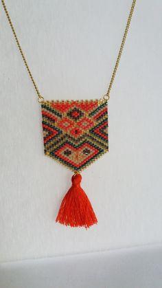 Collier Long Sautoir perles miyuki bijou tissé bohème par izbulle