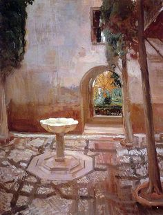 Joaquin Sorolla (Valencia, 1863 - Cercedilla, 1923)  Patio de Doña Juana. Alhambra. Granada (1910). by Li Taipo, via Flickr