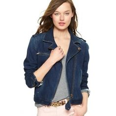 1969 DENIM MOTO JACKET  $89.95 Premium denim. Medium blue wash with faded accents throughout. Long sleeves with zip cuffs. Notched collar with snaps. Shoulder ...
