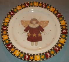 "Debbie Mumm Gathering of Angels Dessert Salad 8"" Plate Dish Christmas Holiday 