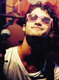 Darren Criss is just too much in those pink shades. #Glee