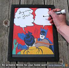 Batman Slap Meme- Paper- Dry Erase- White Board on Glass- Wipe Board Art- Batman Art- Meme Art- Whiteboard- Internet Art- DC Comic Art B