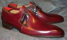 Handmade Men Derby Shoes, Men Burgundy Color Dress Shoes, Men Formal Shoes - Dress/Formal