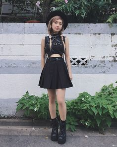 Get this look: http://lb.nu/look/8321413  More looks by Chiemi Ito: http://lb.nu/chiemi13  Items in this look:  Deandri Top, Deandri Skirt, Deandri Harness, Unif Boots, H&M Widebrim   #allblackeverything #lookbook #tokyo