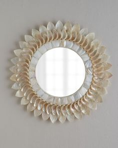 Mirror, mirror on the wall...I bet my reflection will look better after all. White Shell Floral Mirror at Horchow. #Horchow