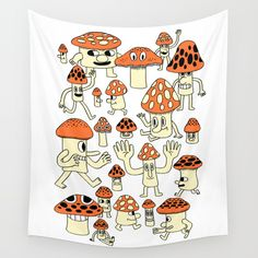 Fun Guys Wall Tapestry. #drawing #digital #ink/pen #cartoon #illustration #comic #nature #humor #childrens #mushroom #cute #fun #orange