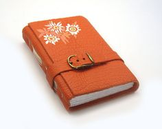"""Orange Journal Handmade Leather Notebook - """"Happy Flowers""""  I could always use more journals!"""