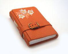 "Orange Journal Handmade Leather Notebook - ""Happy Flowers"""