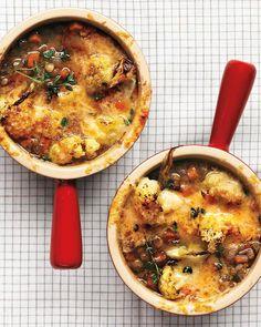 Martha Stuart Lentil Soup with Cauliflower and Cheese - Sub chicken broth for Vegi Broth if Vegetarian.