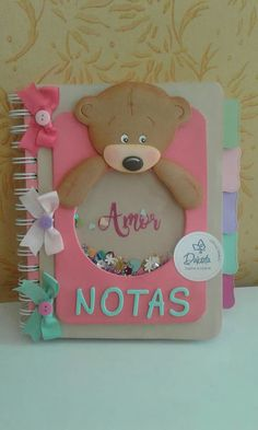 Cute and creative Foam Crafts, Diy And Crafts, Paper Crafts, Baby Mini Album, Diy Y Manualidades, Cute Notebooks, Paper Packaging, Decorate Notebook, Notebook Covers