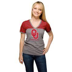 Oklahoma Sooners Women's Heathered Crimson Ringer Tri-Blend V-Neck T-Shirt - $20.99