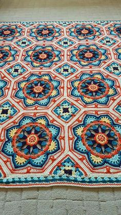 Persian tiles Pattern - By Janie Crow (Jane Crowfoot)Wild Salt Spirit: Persian tiles This is a rug but this would make a great afghanblanket crochet blue and white like tiles would look lovely in pastels Crochet Afghans, Crochet Quilt, Crochet Blocks, Crochet Squares, Crochet Home, Crochet Granny, Crochet Motif, Crochet Crafts, Crochet Blankets