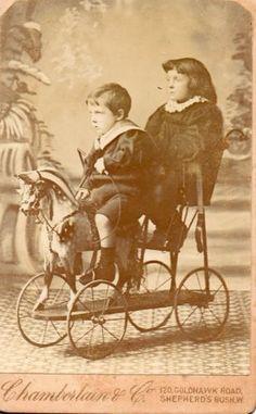 Antique Photograph CDV c1880 Boy Girl Riding A 4 Wheeled Horse for 2 | eBay